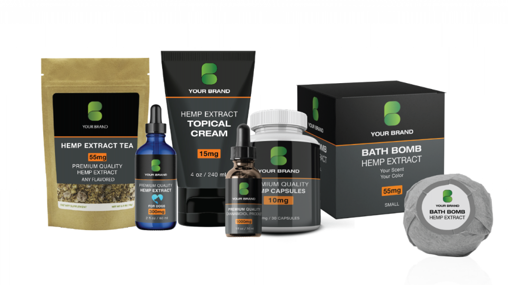 White Label products manufactured by Khrysos Industries. Products include hemp extract tea, premium quality hemp extract, topical, cread, capsules and bath bomb.